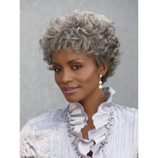 Shaggy Curly Capless Ladylike Silvery Gray Heat Resistant Fiber Fashion Short Women's Wig