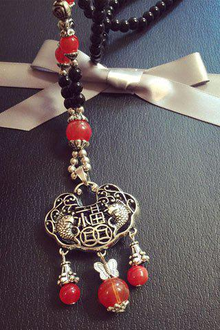 Chinese Style Butterfly Lock Shape Hollow Out Beads Sweater Chain For Women - RED