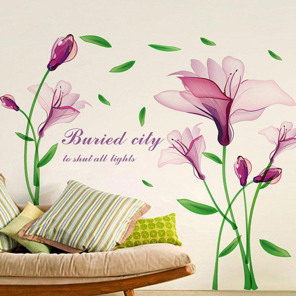 Good Quality Purple Flower Pattern Removeable Decorative Background Wall Sticker - COLORMIX
