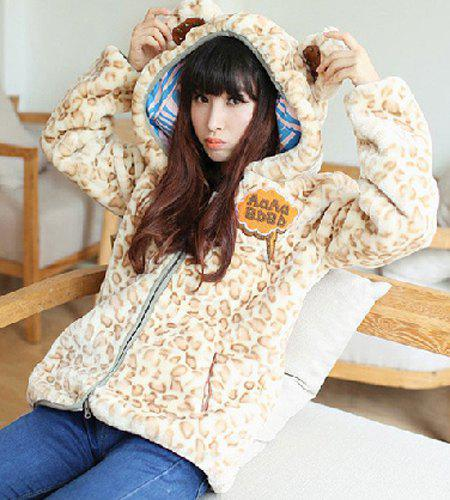 Fresh Style Leopard Printed Faux Velour Hooded 3D Ear and Tail Shape Coat For Women