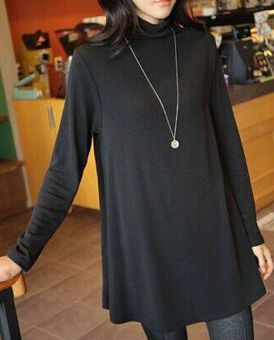 Casual Women's Turtleneck Long Sleeve Pure Color Long T-Shirt