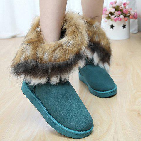 Elegant Faux Fur and Flock Design Women's Snow Boots
