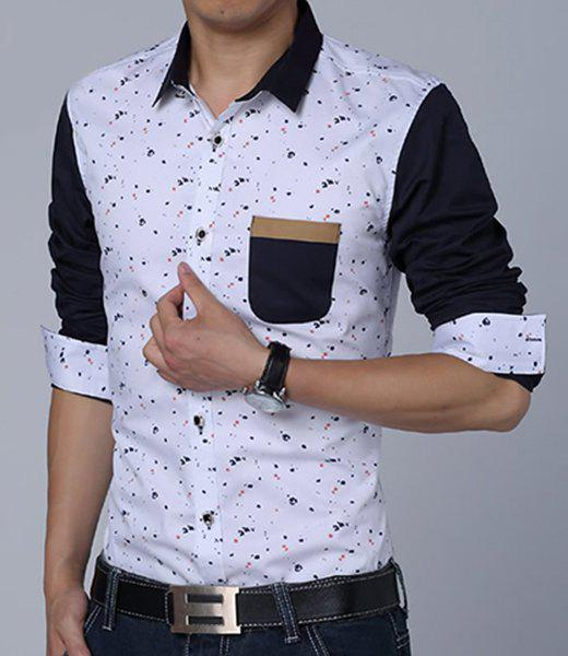 Turn-Down Collar Paint Dot Print Long Sleeve Fleece Thicken Men's Shirt - WHITE M