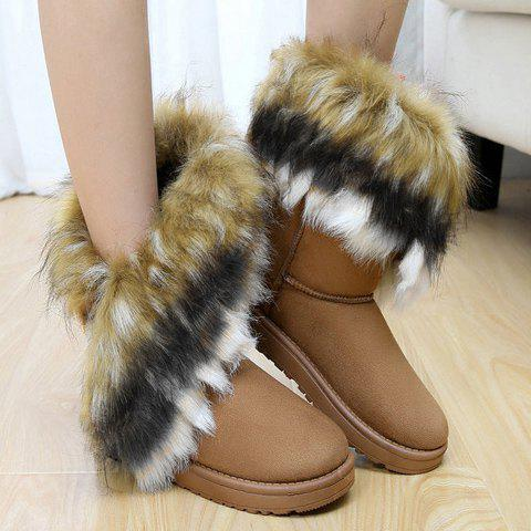 Faux Fur Snow Boots - BROWN 38