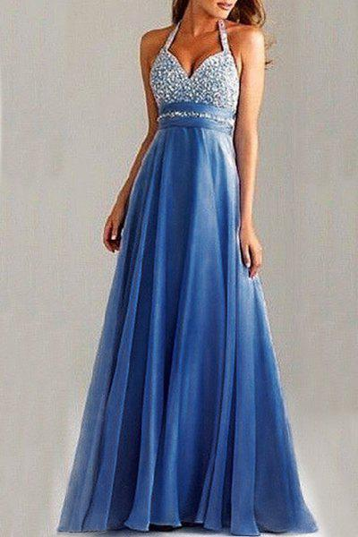 Elegant Backless Sequined Halter High Waist Pleated Prom Dress For Women - BLUE S