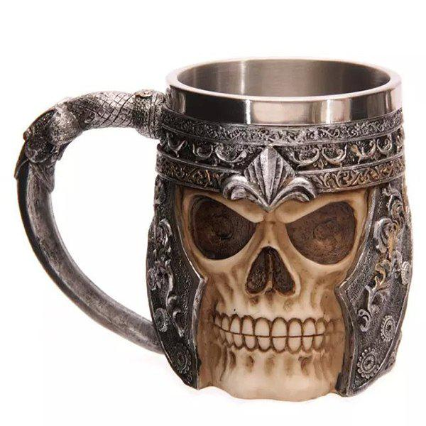 Cool 400ml Skull Design Stainless Steel Coffee Tea Cup - BLACK