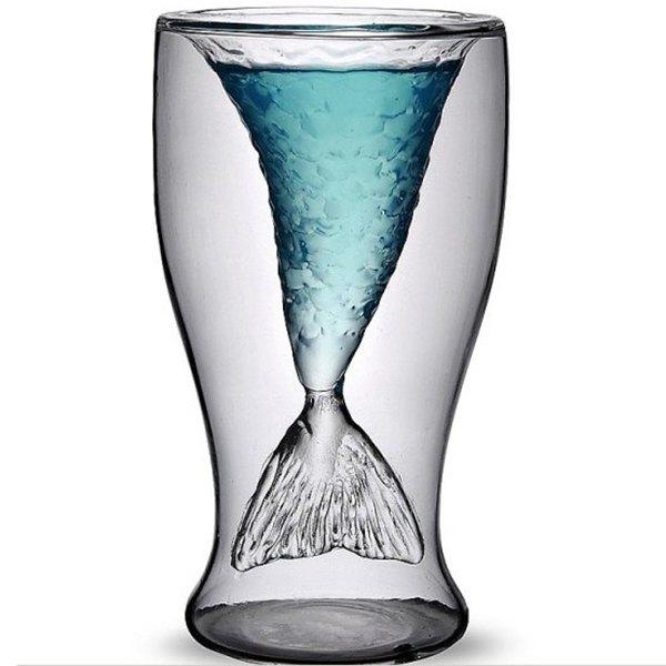 Cool 300ml Transparent Double-Layered Fishtail Design Glass Cup - TRANSPARENT