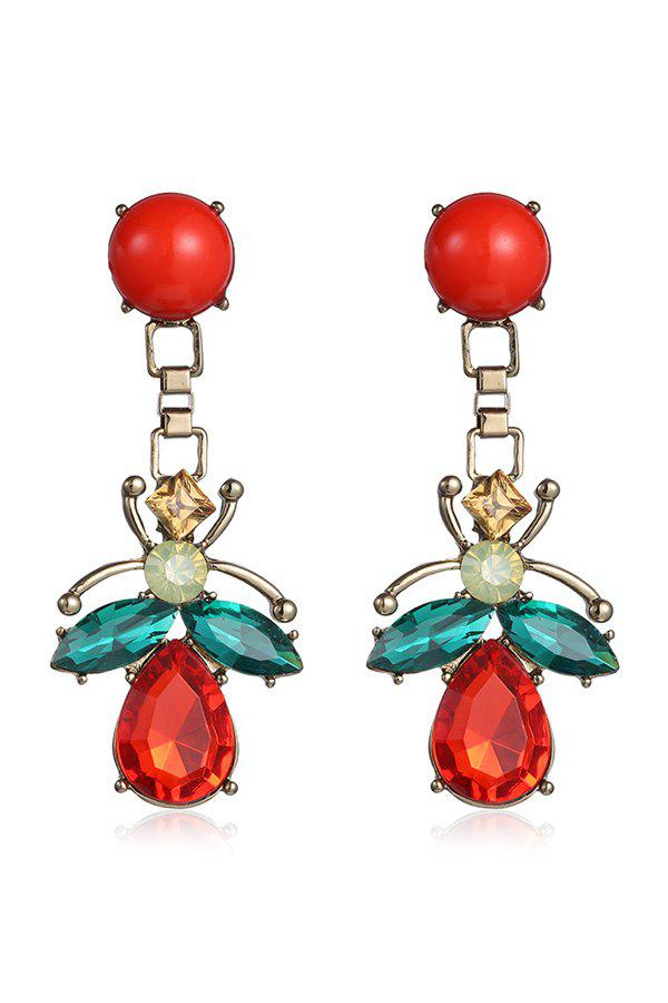 Pair of Insect Shape Drop Earrings - RED