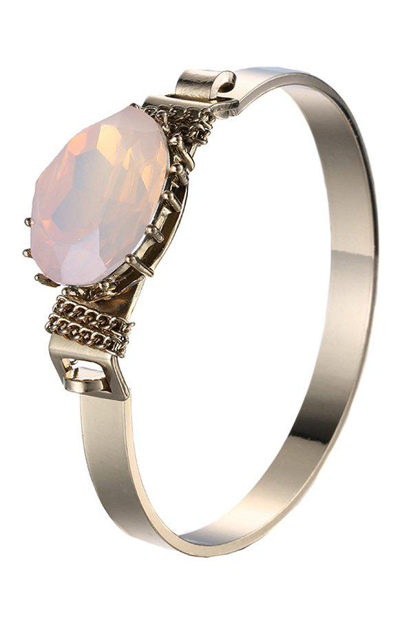 Chic Faux Gem Plated Cuff Bracelet For Women - LIGHT PINK