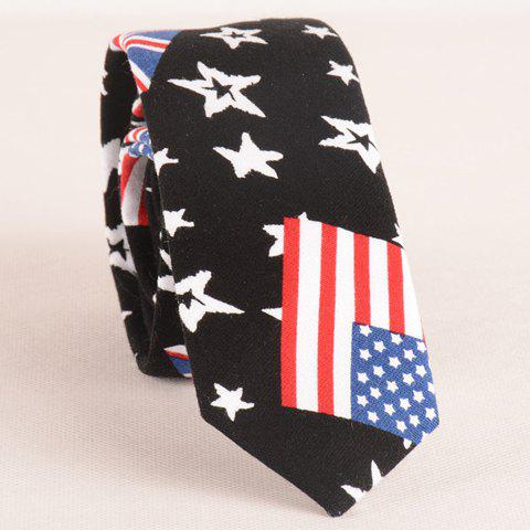 Stylish American Flag and Star Pattern 6CM Width Men's Tie - BLACK