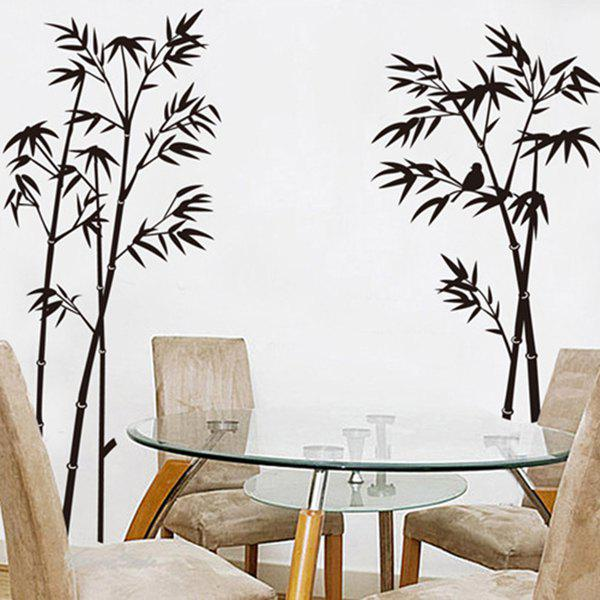 2018 bonne qualit bamboo pattern sticker mural d coratif noir in stickers muraux online store. Black Bedroom Furniture Sets. Home Design Ideas