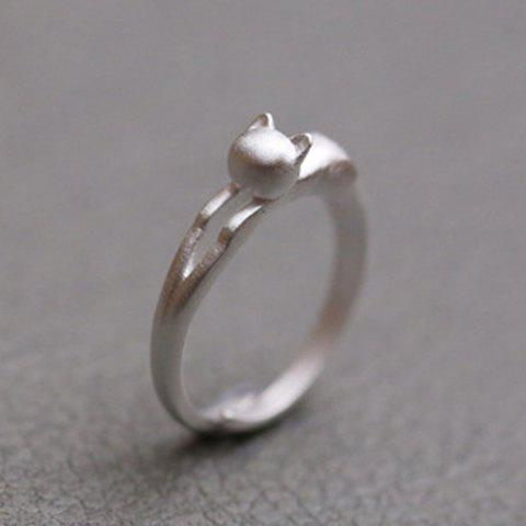 Delicate Solid Color Kitten Shape Cuff Ring For Women - SILVER ONE-SIZE