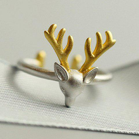 Christmas Style Elk Shape Alloy Cuff Ring - SILVER ONE-SIZE
