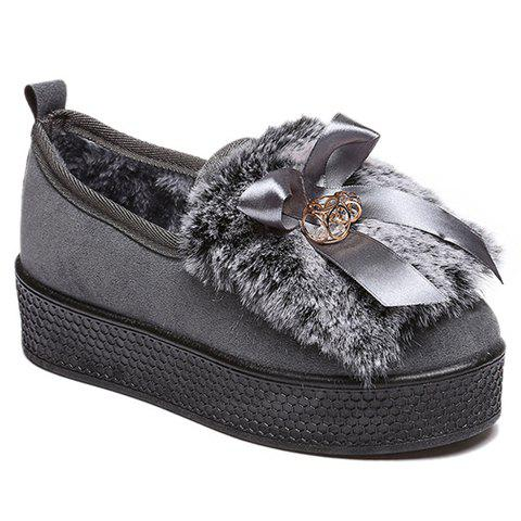 Trendy Rhinestones and Artificial Fur Design Platform Shoes For Women
