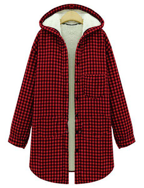 Stylish Hooded Long Sleeve Flocking Gingham Women's Coat - RED 2XL