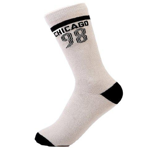 Pair of Stylish Numbers Stripe Letters Pattern Breathable Sport Socks For Men - LIGHT KHAKI