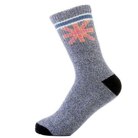 Pair of Stylish Union Flag Pattern Thicken Socks For Men - BLUE