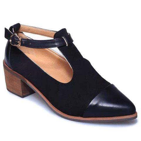 Vintage Solid Colour and T-Strap Design Women's Pumps For Women - BLACK 39
