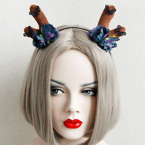 Trendy Elk Antler Shape Hollow Out Butterfly Floral Hairband For Women - COFFEE