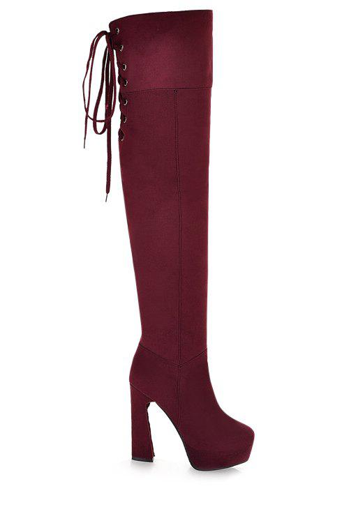 Party Chunky Heel and Lace-Up Design Women's Thigh Boots - 37 RED