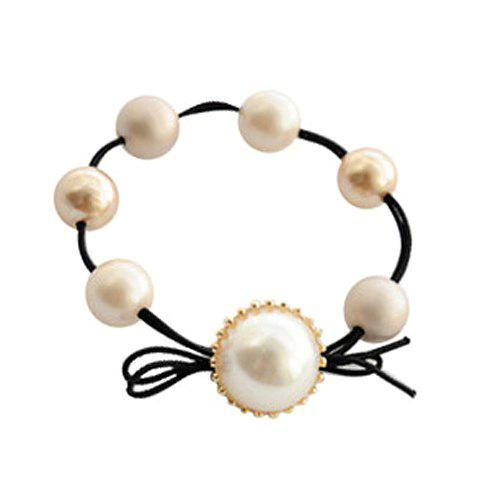 Chic Bowknot Faux Pearl Elastic Hair Band For Women - YELLOW