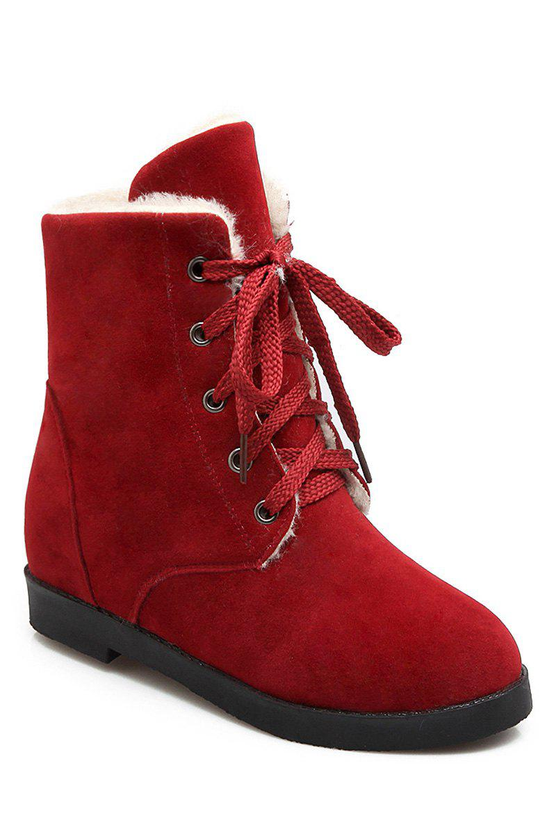 Concise Women's Short Boots With Lace-Up and Solid Colour Design - WINE RED 37