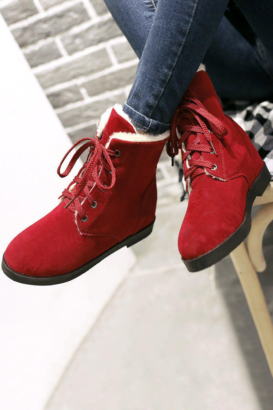 Concise Women's Short Boots With Lace-Up and Solid Colour Design - WINE RED 38