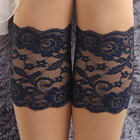 Pair of Chic Flower and Leaf Jacquard See-Through Lace Boot Cuffs For Women - BLACK