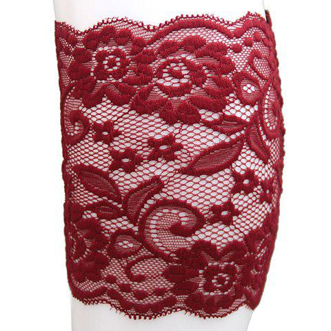 Pair of Chic Flower and Leaf Jacquard See-Through Women's Lace Boot Cuffs - WINE RED
