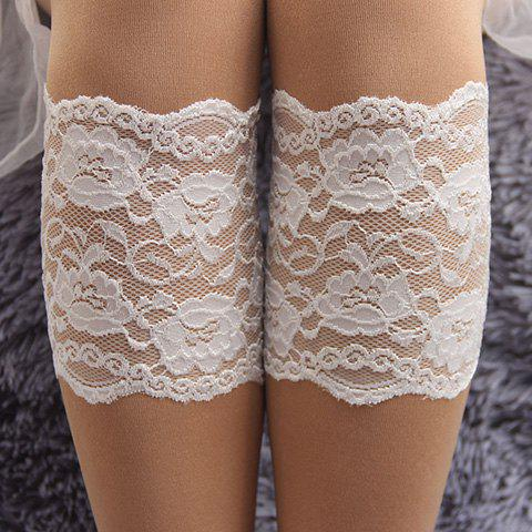 Pair of Chic Flower Jacquard Hollow Out White Lace Boot Cuffs For Women - WHITE