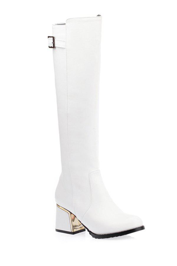 Fashionable Buckle and Chunky Heel Design Women's Mid-Calf Boots - WHITE 34