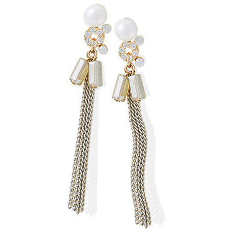 Pair of Elegant Rhinestone Faux Crystal Link-Chain Drop Earrings For Women - WHITE