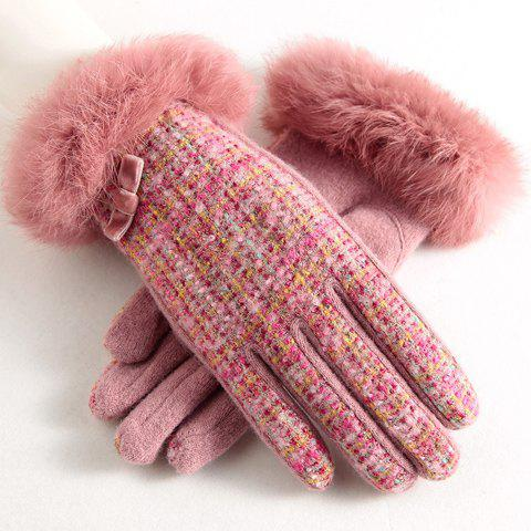 Pair of Chic Faux Fur Embellished Mixed Color Winter Gloves For Women