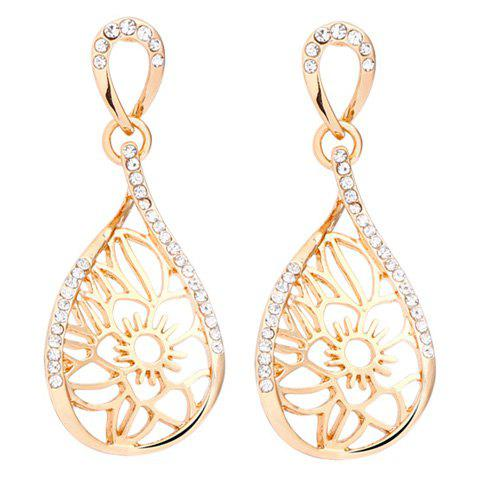 Pair of Exquisite Rhinestone Hollow Out Water Drop Earrings For Women - GOLDEN