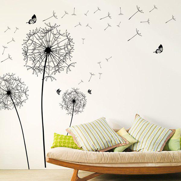 High Quality Dandelion Pattern Removeable Waterproof Decorative Wall Sticker - BLACK