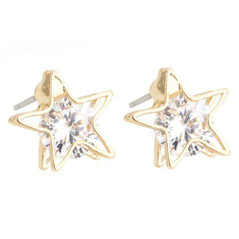 Pair of Exquisite Rhinestone Hollow Out Star Earrings For Women - GOLDEN