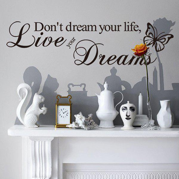 High Quality English Proverb Pattern Removeable Waterproof Decorative Wall Sticker - BLACK