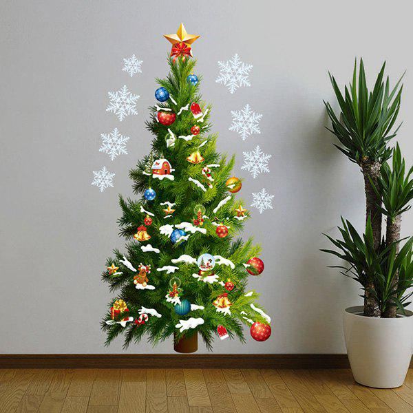 High Quality Christmas Tree Pattern Removeable Waterproof Decorative Wall Sticker - GREEN