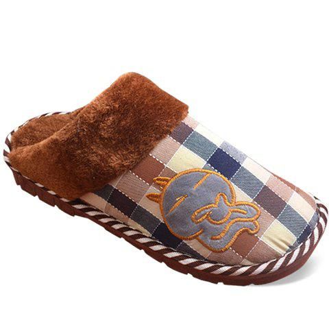 Cute Plaid and Cartoon Design Slippers For Men - COFFEE M(42-43)
