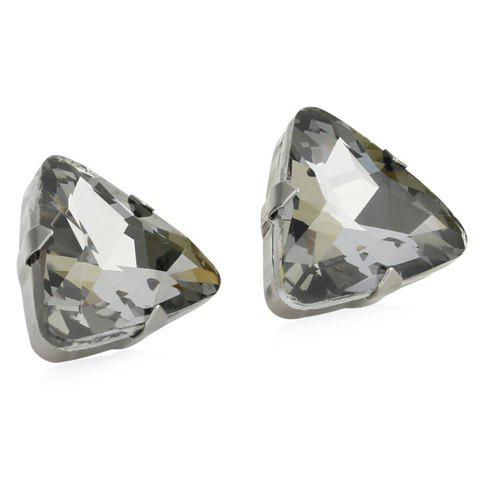 Pair of Exquisite Faux Crystal Triangle Earrings For Women - GRAY