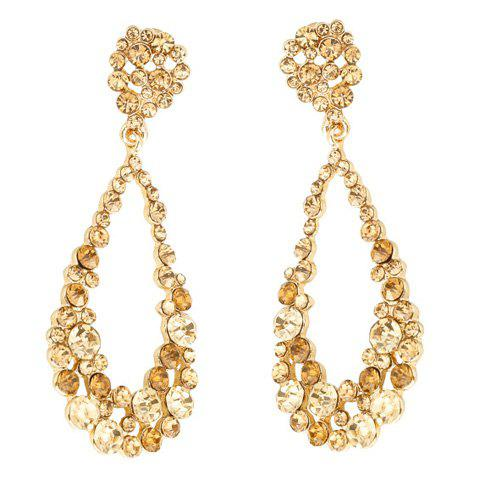Pair of Exquisite Rhinestoned Hollow Out Water Drop Earrings For Women - GOLDEN