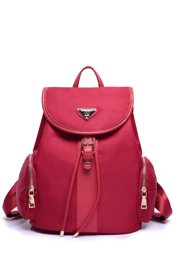 Concise Splicing and Metal Design Women's Satchel - WINE RED