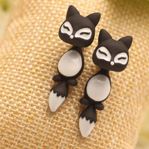 Pair of Chic Colored Fox Drop Earrings For Women - BLACK