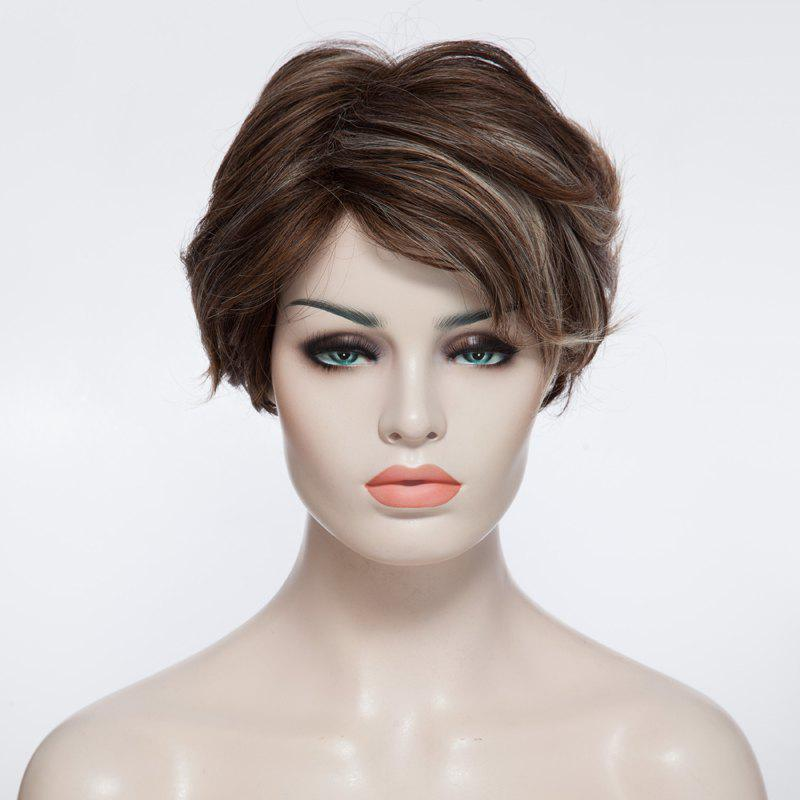 Charming Wavy Short Capless Fashion Fluffy Mixed Color Inclined Bang Synthetic Women's Wig