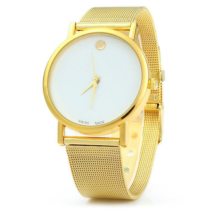 Simple Golden Dot Quartz Watch for Women - WHITE