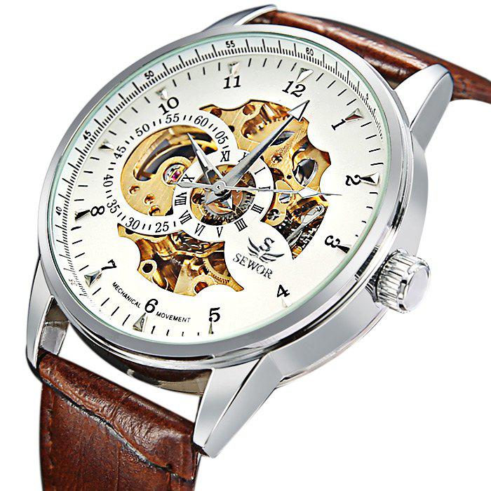 Sewor Hollow-out Male Wristwatch Automatic Mechanical Watch - BROWN