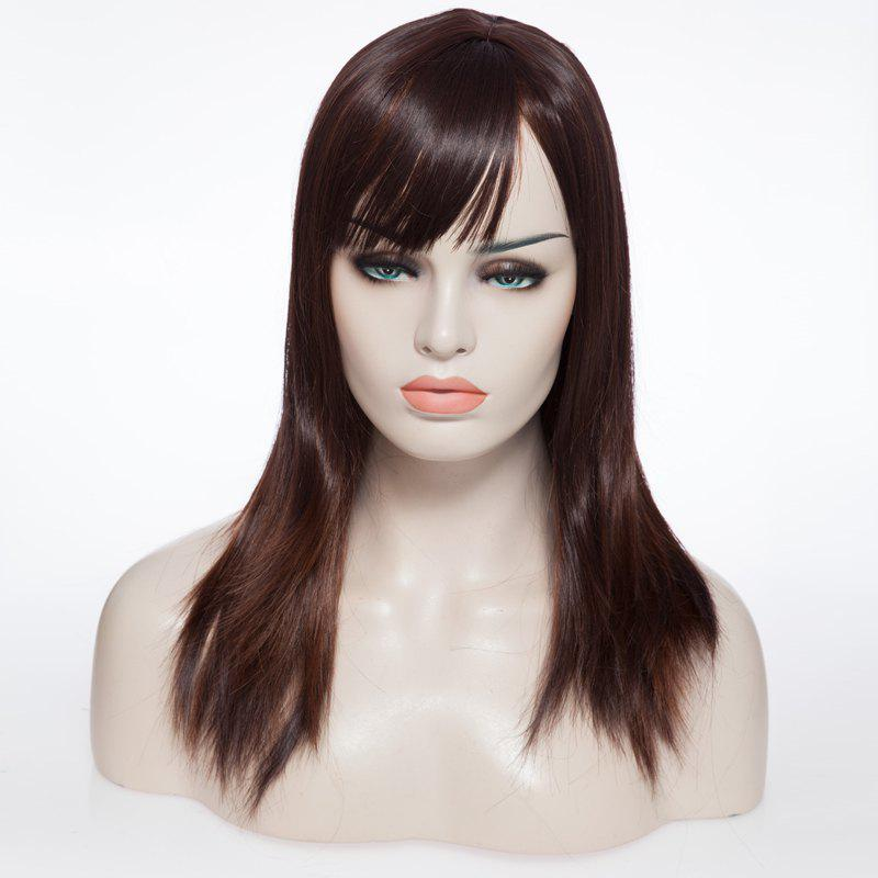 Natural Wave Medium Straight Pretty Brown Women's Capless Wig With Side Bang - COLORMIX