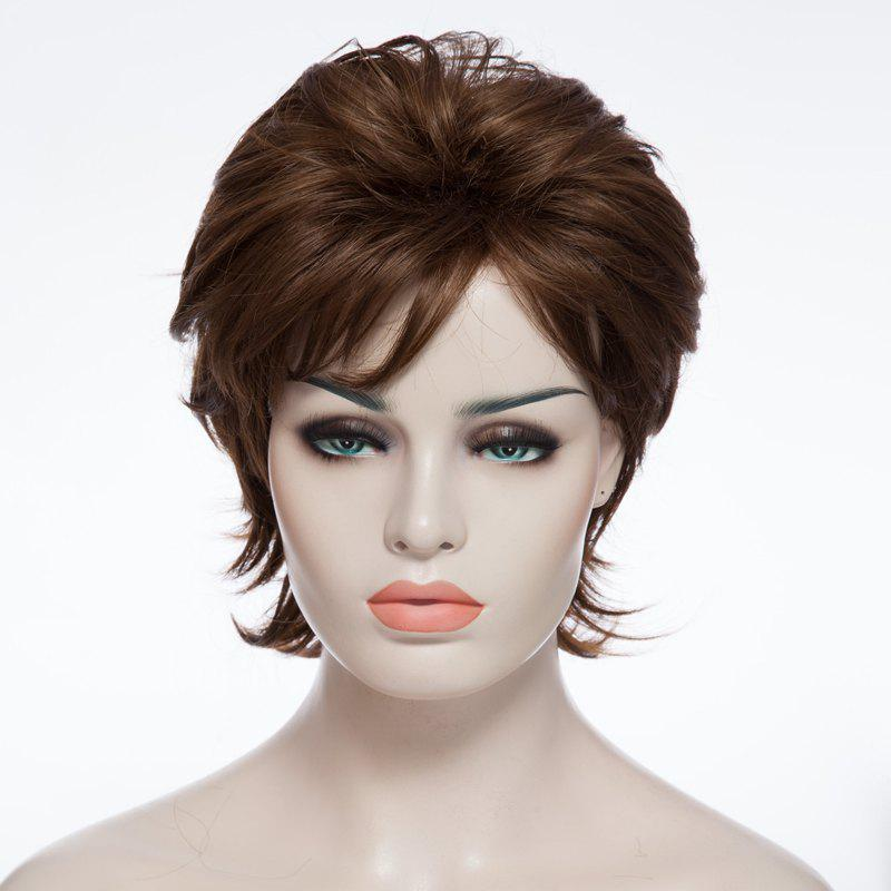 Trendy Synthetic Mixed Color Fluffy Short Curly Side Bang Charming Women's Capless Wig laser head esoteric p0