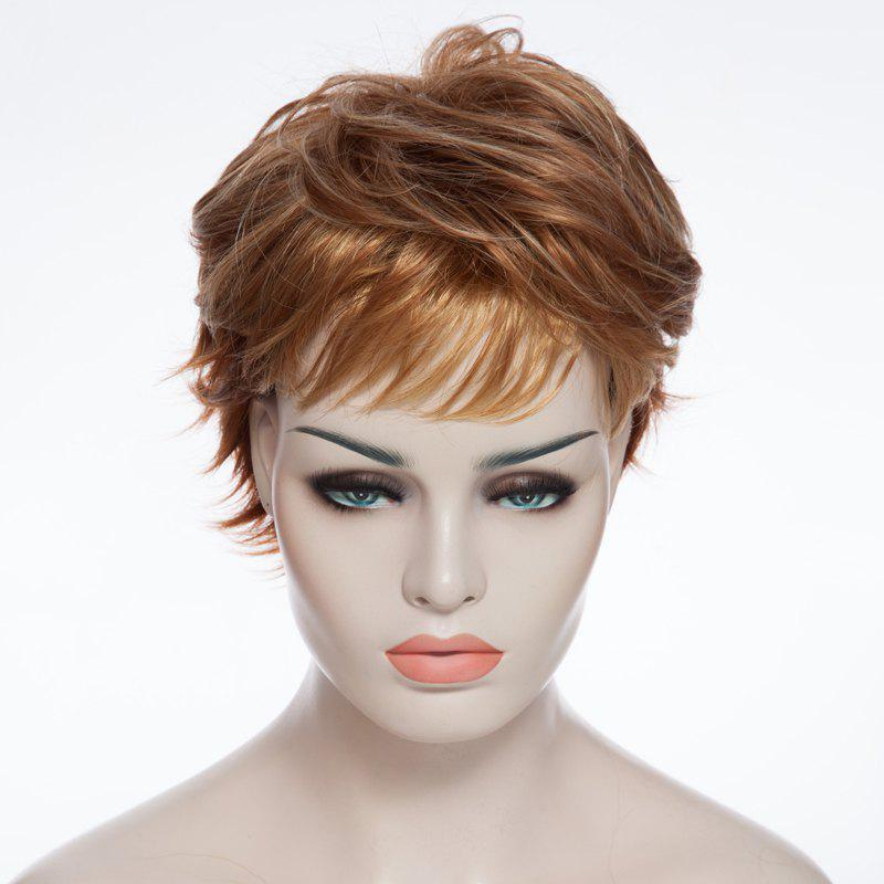 Trendy Side Bang Short Gold Wave Fluffy Heat Resistant Synthetic Women's Wig