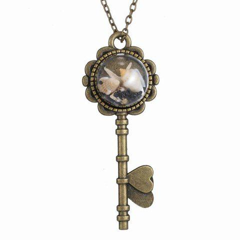 Vintage Key Shape Conch and Starfish Pendant Necklace - COPPER COLOR